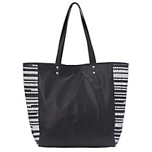 Buy French Connection Rocha Leather Tote Bag, Black/White Online at johnlewis.com