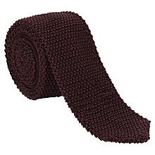 Buy Jigsaw Knitted Silk Tie, Burgundy Online at johnlewis.com