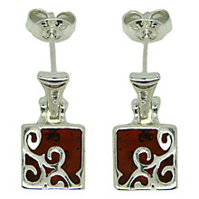 Buy Goldmajor Amber Sterling Silver Trellis Drop Earrings, Silver/Amber Online at johnlewis.com