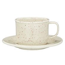 Buy John Lewis Canteen Specked Cup and Saucer, Cream/Burgundy Online at johnlewis.com