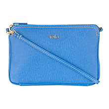 Buy Tula Saffiano Small Leather Across Body Bag, Blue Online at johnlewis.com