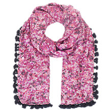 Buy Jigsaw Printed Pom Pom Scarf, Pink Online at johnlewis.com
