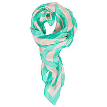 Buy French Connection Janet Striped Silk Scarf, Black/Capri Online at johnlewis.com
