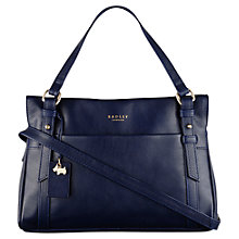 Buy Radley Chelsea Leather Small Zip Top Grab Bag, Navy Online at johnlewis.com
