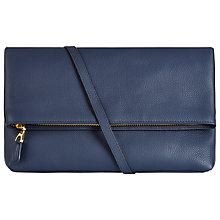 Buy Jaeger Harper Leather Across Body Bag, Steel Blue Online at johnlewis.com