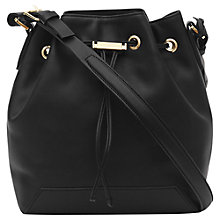 Buy Reiss Maya Etched Toggle Bucket Shoulder Bag, Black Online at johnlewis.com