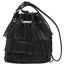 Buy Reiss Stevie Fringe Bucket Bag, Black Online at johnlewis.com