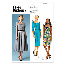 Buy Butterick Women's Square Neckline Fitted Dress Sewing Pattern, 5984 Online at johnlewis.com
