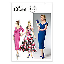 Buy Butterick V Neckline Fitted Bodice Dress Sewing Pattern, 5983 Online at johnlewis.com