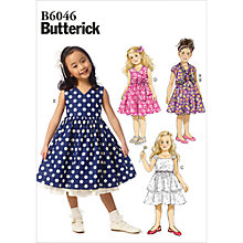 Buy Butterick Children's Dress Sewing Pattern, 6046, CL Online at johnlewis.com