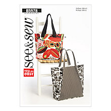 Buy Butterick Accessories Bags Sewing Pattern, 5978, One Size Online at johnlewis.com