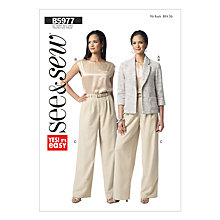 Buy Butterick Women's Top, Jacket and Trousers Sewing Pattern, 5977, A Online at johnlewis.com