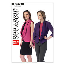 Buy Butterick Women's Vest Jacket Sewing Pattern, 6077 Online at johnlewis.com