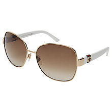 Buy Gucci GG4242/s Rectangular Framed Sunglasses, Havana Online at johnlewis.com