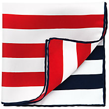 Buy Thomas Pink Two Stripe Silk Pocket Square, Navy/Red/White Online at johnlewis.com