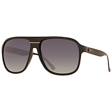 Buy Gucci GG1076/S Aviator Sunglasses, Black Online at johnlewis.com