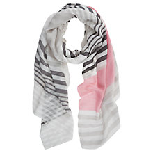 Buy Mint Velvet Stripe Scarf, Candy / Grey Online at johnlewis.com
