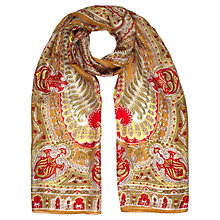 Buy Jigsaw Contrast Paisley Silk Scarf, Chartreuse Online at johnlewis.com