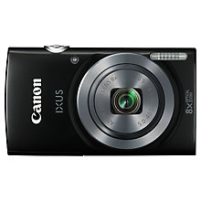 "Buy Canon IXUS 160 Digital Camera, HD 720p, 20MP, 8x Optical Zoom, 2.7"" LCD Screen, Black with Memory Card Online at johnlewis.com"