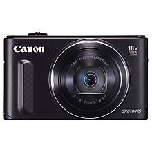 "Buy Canon PowerShot SX610 HS, Digital Camera, HD 1080p, 20.2MP, 18x Optical Zoom, Wi-Fi, NFC, GPS, 3"" Screen, Black with Memory Card Online at johnlewis.com"