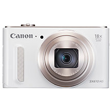 "Buy Canon PowerShot SX610 HS, Digital Camera, HD 1080p, 20.2MP, 18x Optical Zoom, Wi-Fi, NFC, GPS, 3"" Screen Online at johnlewis.com"