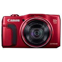 "Buy Canon PowerShot SX710 HS Digital Camera, HD 1080p, 20.3MP, 30x Optical Zoom, Wi-Fi, NFC, 3"" Screen, Red with Memory Card Online at johnlewis.com"