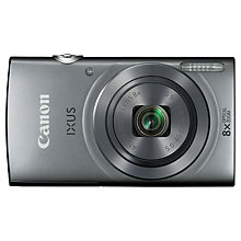 "Buy Canon IXUS 160 Digital Camera, HD 720p, 20MP, 8x Optical Zoom, 2.7"" LCD Screen, Silver with Memory Card Online at johnlewis.com"