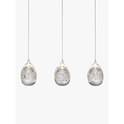 John Lewis 3 Droplet LED Pendant Ceiling Light, Chrome