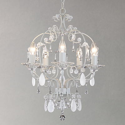 John Lewis Amelie 5 Light Crystal Ceiling Pendant, Grey