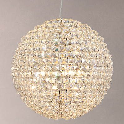 John Lewis Exquisite Crystal Globe Ceiling Light, Brushed Brass, Large
