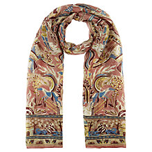Buy Jigsaw Circus Print Silk Scarf, Dusky Pink Online at johnlewis.com