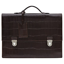 Buy Reiss Patas Textured Leather Briefcase, Dark Brown Online at johnlewis.com