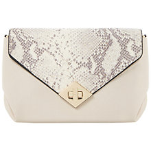Buy Dune Ediamond Snake Turnlock Envelope Clutch Bag, Cream Online at johnlewis.com