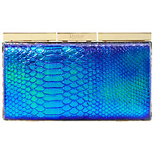 Buy Dune Belissmo Snake Metallic Clutch Bag, Blue Online at johnlewis.com