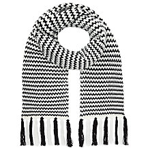 Buy John Lewis Monochrome Stripey Scarf, Black/White Online at johnlewis.com