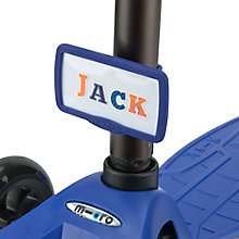 Buy Micro Scooter Nameplate, Blue Online at johnlewis.com