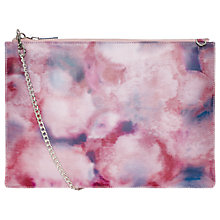 Buy Whistles Rivington Smudge Print Leather Clutch Bag, Pale Pink Online at johnlewis.com