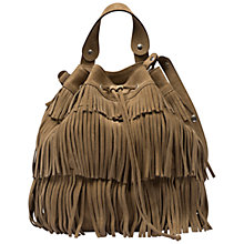 Buy Gerard Darel Indie Fringed Suede Bucket Bag, Camel Online at johnlewis.com