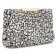 Buy Jaeger Marylebone Leather Leopard Print Clutch Bag, Black/White Online at johnlewis.com