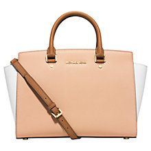 Buy MICHAEL Michael Kors Selma Large Leather Satchel, Nude/White Online at johnlewis.com