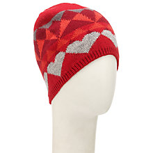 Buy John Lewis Geometric Fairisle Beanie Hat, Red Online at johnlewis.com