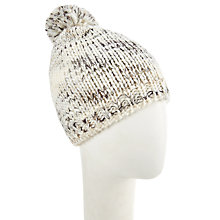 Buy John Lewis Melange Pom Beanie Hat, Natural Online at johnlewis.com