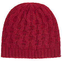 Buy John Lewis Bubble Lattice Beanie Hat, Red Online at johnlewis.com