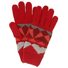 Buy John Lewis Geometric Fairisle Gloves, One Size, Red Online at johnlewis.com