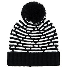 Buy John Lewis Knitted Diamond Pom Beanie Hat, Black/White Online at johnlewis.com