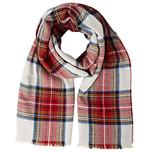 Buy John Lewis Double Faced Cashmink Check Wrap, Cream/Red Online at johnlewis.com