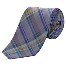 Buy Jaeger Madras Check Silk Tie, Purple Online at johnlewis.com