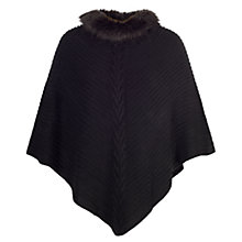 Buy Chesca Ribbed Faux Fur Poncho, Black Online at johnlewis.com