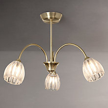 Buy John Lewis Brooke Fluted 3 Arm Ceiling Light, Satin Brass Online at johnlewis.com
