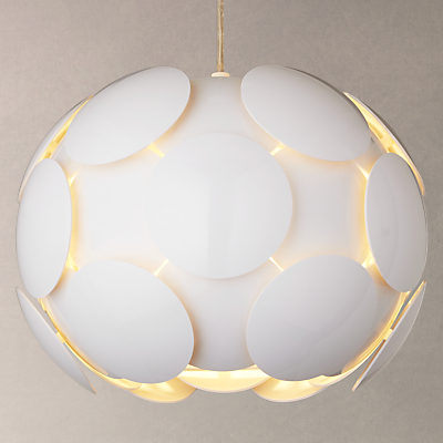 John Lewis Atom Pendant Light, Gloss White